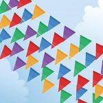 Vicloon Multicolor Fanions Guirlande Banderole,38M Décorations en Tissu de Polyester Drapeaux,Triangulaire 100 Drapeaux Double Face Intérieur/Carnaval/Extérieur Fête Décoration de la marque Vicloon image 6 produit