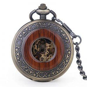 Vintage en bois mécanique montre de poche Chiffres romains Creative Sculpture sur bois de luxe montres Pendentif chaîne de la marque BOSINI image 0 produit