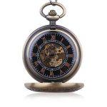 Vintage en bois mécanique montre de poche Chiffres romains Creative Sculpture sur bois de luxe montres Pendentif chaîne de la marque BOSINI image 1 produit