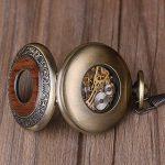 Vintage en bois mécanique montre de poche Chiffres romains Creative Sculpture sur bois de luxe montres Pendentif chaîne de la marque BOSINI image 4 produit