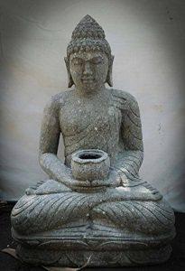 wanda collection Statue jardin Bouddha assis en pierre volcanique bol à offrande 80cm de la marque wanda collection image 0 produit