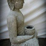 wanda collection Statue jardin Bouddha assis en pierre volcanique bol à offrande 80cm de la marque wanda collection image 1 produit
