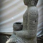 wanda collection Statue jardin Bouddha assis en pierre volcanique bol à offrande 80cm de la marque wanda collection image 2 produit