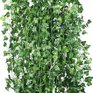 Weimi Paquet de 12 plantes artificielles de vigne fausses fleurs lierre suspendue guirlande 80 feuilles 6.88ft pour la fête de mariage Accueil Bar Jardin Décoration murale extérieure intérieure de la marque Weimi image 0 produit