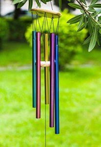 Wind Chimes 5creux Multicolore tubes aluminium Bois Grand carillon pour terrasse, jardin, extérieur et décoration intérieure Salon Jour de Noël de la marque Haliseng image 0 produit