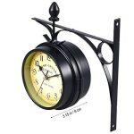 WINOMO Horloge Murale horloges classiques créatif du recto-verso-style européen Monochrome (noir) de la marque WINOMO image 2 produit