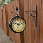 WINOMO Horloge Murale horloges classiques créatif du recto-verso-style européen Monochrome (noir) de la marque WINOMO image 3 produit