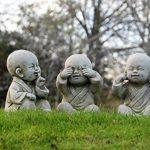 World Of Stone Lot de 3 statues de Bouddha moines Clés de la sagesse « Ne rien voir, ne rien entendre, ne rien dire » de la marque World Of Stone image 2 produit