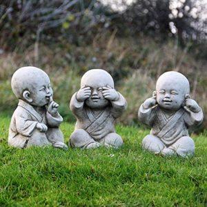 World Of Stone Lot de 3 statues de Bouddha moines Clés de la sagesse « Ne rien voir, ne rien entendre, ne rien dire » de la marque World Of Stone image 0 produit
