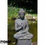 XXL Bouddha Sculpture Décoration de jardin Justice assis Gris pierre, hauteur 73cm de la marque Imhof Stevens image 2 produit