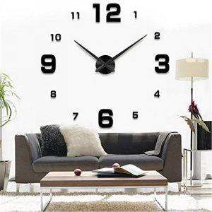 Yosoo DIY 3D Horloge Murale Design Géante Grande Taille Moderne Ronde avec Chiffres pour Décoration Salon Bureau - Style 2, Noire de la marque Yosoo image 0 produit