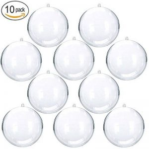 YUYIKES Boules de Noël Lot de 10, Boules de Décoration transparentes en plastique pour Noël, Pâque, Anniversaire,4 cm de la marque YUYIKES image 0 produit