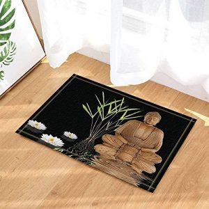 Zen Bambou Arbres Décor Yoga Bouddha avec Lotus dans l'eau Tapis de bain antidérapant Paillasson Entrée d'étage Tapis de porte d'entrée d'intérieur Tapis de bain pour enfants 60X40CM Accessoires de salle de bains de la marque Nyngei image 0 produit
