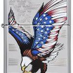 Zippo 60001499 Eagle Flag Briquet Laiton High Polish Chromé 3,5 x 1 x 5,5 cm de la marque Zippo image 1 produit